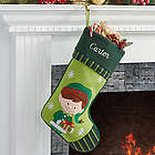 Boy Elf Christmas Family Stocking