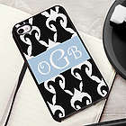 Black and White Damask iPhone Case with Black Trim