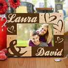 Engraved Couples Hearts Wooden Picture Frame