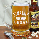 Finally Legal 21st Birthday Glass Mug