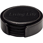 Round Leather Coaster Set