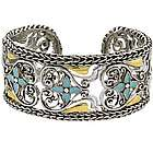 Braided Edge Vintage Heart Cuff Bracelet