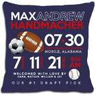 Personalized Birth AnnouncementSports Pillow in Dark Blue