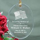In Loving Memory Personalized Military Memorial Glass Ornament