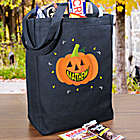 Personalized Smiling Pumpkin Trick or Treat Black Tote