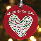 Heart of Love Personalized Christmas Ornament