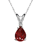 Pear Garnet and Diamond Stud Pendant in 14K White Gold