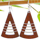 Contemporary Wood and Silver Fan Earrings