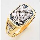 14K Two-Tone Goldline Masonic Past Masters Ring