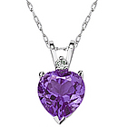 Heart Amethyst and Diamond Stud Pendant in 14K White Gold
