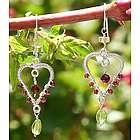 Loving Heart Garnet and Peridot Dangle Earrings