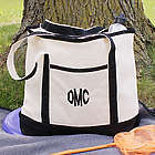 Embroidered Three Initials Monogrammed Tote Bag