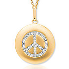 14k Yellow Gold Diamond Peace Sign Disk Pendant