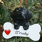 Personalized Black Lab with Bone Ornament