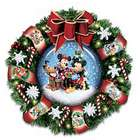 Mickey, Minnie and Pluto Snow Dome Musical Wreath