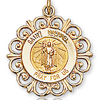 14K Yellow Gold 'Pray for Us' Ornate St. Raphael Medal