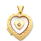 Diamond Mother of Pearl 14k Yellow Gold Heart Locket