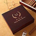 Personalized Cherry Wood Cigar Humidor - Golf Club Design