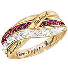 Personalized Together in Love Red and White Diamond Ring