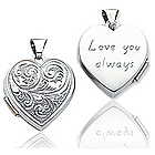 14k White Gold 'Love You Always' Heart Locket