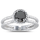 1 Ct Black Diamond Ring in 14K White Gold