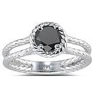 1 Ct Black Diamond Ring in 14K White Gold