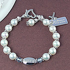 Cultured Pearl Engravable Birthstone Bracelet