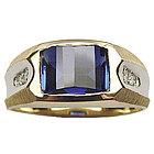 Men's Synthetic Sapphire Diamond Ring in 14K Gold