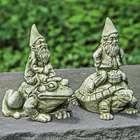 Cast Stone Riding Gnome Garden Statue
