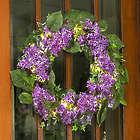 """24"""" Pre-lit Lilac Floral Wreath"""