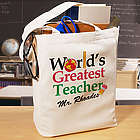 World's Greatest Teacher Personalized Canvas Tote Bag