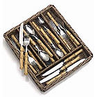 20 Piece Bamboo Flatware & Tray