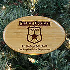Engraved Police Officer Wooden Oval Ornament