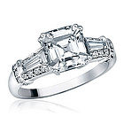 Sterling Silver Asscher Cut CZ Wedding Engagement Ring