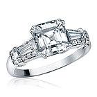 Sterling Silver Asscher Cut CZ Wedding Engagement Ring