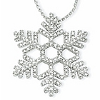 Diamond Snowflake Necklace in 14k White Gold