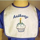 Baby Boy Personalized First Birthday Bib: Cupcake