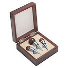Three Rosewood Wine Stopper Set
