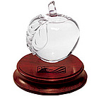 Glass Apple Award with Rosewood Base