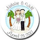 Personalized Happy Couple Tropical Design Wedding Plate