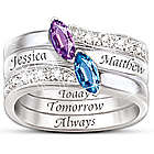 Together As One Personalized Birthstone Couple's Ring