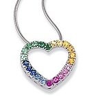 14k White Gold Multi Color Sapphire Heart Pendant