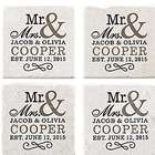 Personalized Happy Couple Tile Coasters