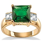 Simulated Emerald and DiamonUltra� Cubic Zirconia Ring