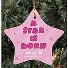 Personalized Ceramic Baby Girl Star Ornament
