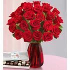 Two Dozen Lovely Mom Red Roses and Chocolates