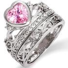 Pink Ice Crown Tiara Ring Set