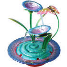 Purple Iris Indoor Fountain with Butterfly Sculpture