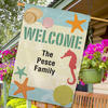 Seashells Personalized Welcome House Flag