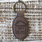 Personalized Family Home Round Leather Key Chain